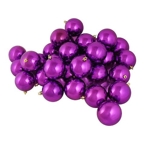 "60ct Purple Shatterproof Shiny Christmas Ball Ornaments 2.5"" (60mm)"
