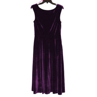 Betsey Johnson Sleeveless Midi Tea Length Velvet Dress with Bateau Neck, 8