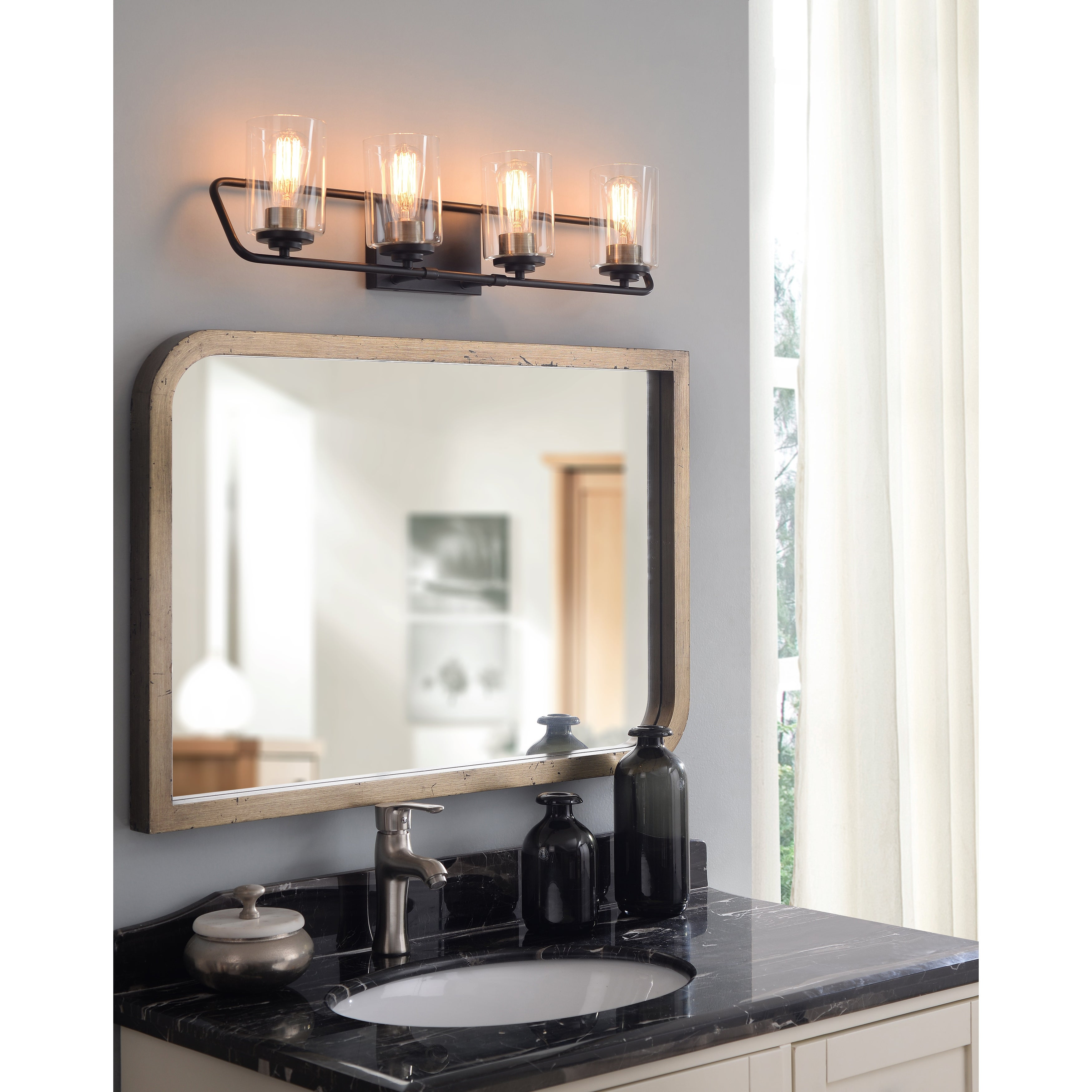 Shop Cusack Modern 4 Light Vanity With Matte Black With Antique Brass 29 X 7 Overstock 31827190