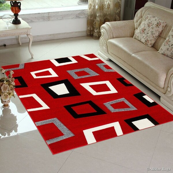 allstar rugs red modern geometric black and grey square design area rug 7 39 9 x 10 39 5 free. Black Bedroom Furniture Sets. Home Design Ideas