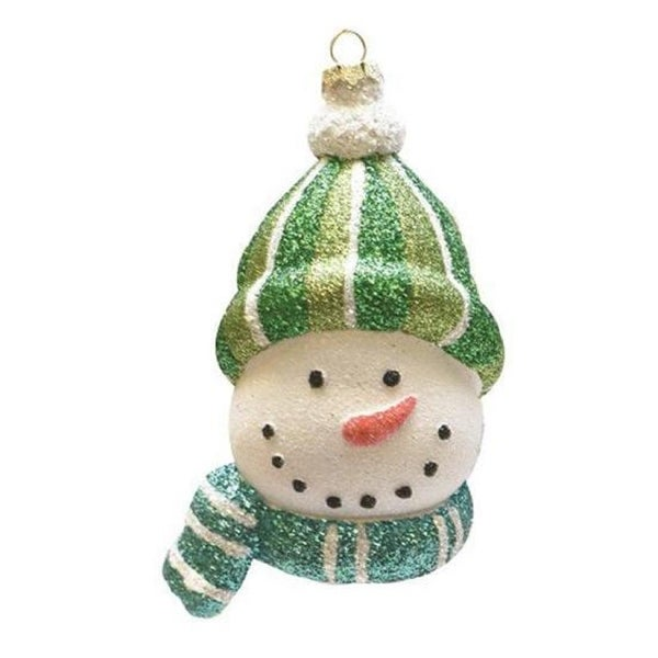 "5.5"" Merry & Bright Whimsical Snowman Head with Striped Hat and Scarf Shatterproof Christmas Ornament"