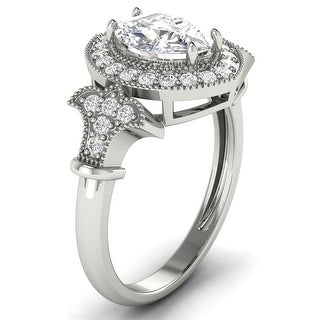 1 30 CT Antique Round Marquise Diamond Halo Ring 1 CT Center In 14KT