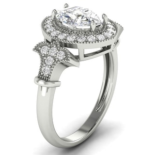 Link to 1.30 CT Antique Round & Marquise Diamond Halo Ring 1 CT Center in 14KT Similar Items in Wedding Rings