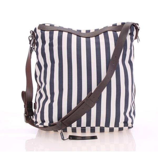 Shop Dolce   Gabbana Blue striped canvas messenger bag - One size ... ffb0325e2d620