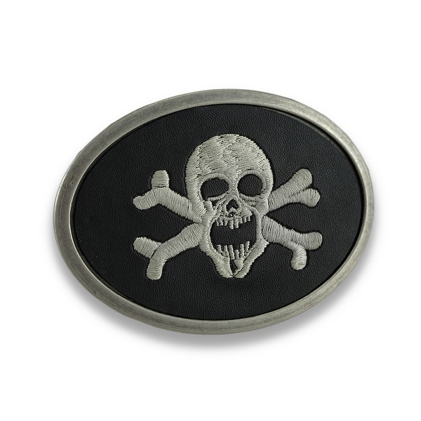 Black Leather Embroidered Skull and Crossbones Belt Buckle