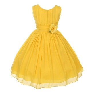 Good Girl Little Girls Yellow Floral Chiffon Flower Girl Easter Dress (2 options available)