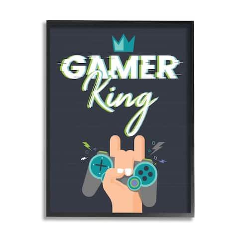 Stupell Industries Gamer King Phrase Boy's Video Game Hobby Framed Wall Art