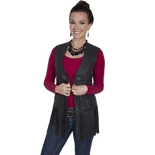 Scully Western Vest Womens Leather Suede Fitted Fringe Black L623