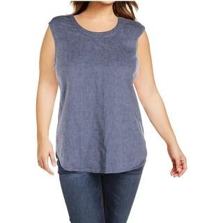 Anne Klein Womens Denim Shirt Scoop Neck Shell