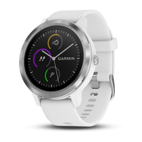 Garmin vivoactive 3 Multisport GPS Watch (White/Stainless Hardware) - White/Stainless - OSFA