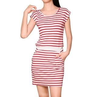 Unique Bargains Women Stripes Round Neck Contrast Waist Pockets Mini Dress