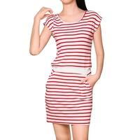 Unique Bargains Women's Contrast Waist Stripes Round Neck Pockets Mini Dress - Red