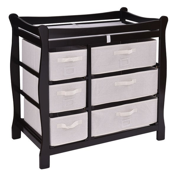 Costway Espresso Sleigh Style Baby Changing Table Diaper 6 Basket Drawer Storage Nursery