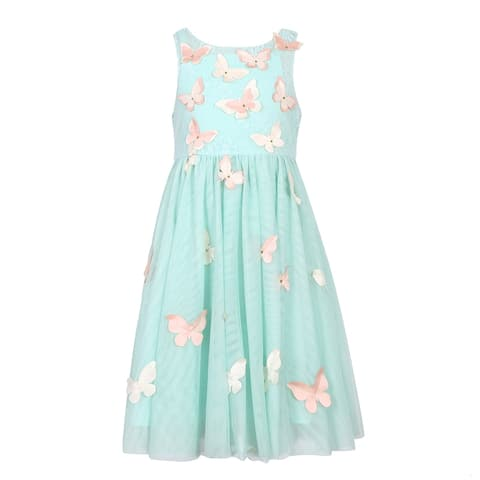 Richie House Girls' Party Mesh Dress with Butterflies