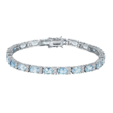 Oval-Cut Aquamarine with White Zircon Tennis Bracelet, Sterling Silver