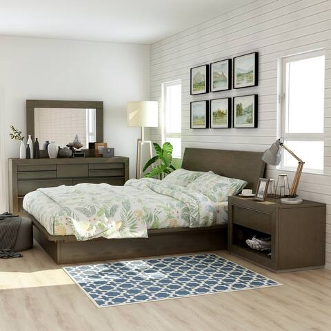 Furniture of America Stur Transitional Walnut 4-piece Bedroom Set