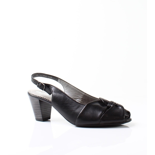 Ara NEW Black Women Shoes Size 8.5M Tilda Leather Slingback Heels