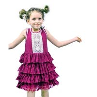 Sophie Catalou Little Girls Purple Polka Dot Lace Tier Flower Girl Dress