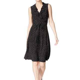 Tommy Hilfiger NEW Black Womens Size 8 Faux-Wrap Ruffled Sheath Dress