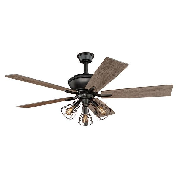 Clybourn Farmhouse Industrial 52 Inch Bronze Ceiling Fan With Wire Cage Led Light Kit 52 In W X 21 In H X 52 In D Overstock Com Shopping The Best Deals On Ceiling Fans 26780873