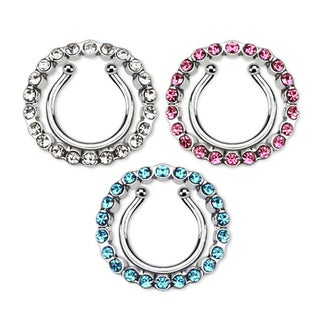 Circle w/ Multi Paved Gem Clip On Nipple Ring (Sold Individually) (3 options available)
