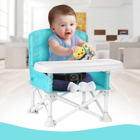 ODOLAND Travel Booster Seat w/ Tray for Baby Folding Portable High Chair for Eating, Camping, Beach, Lawn, Grandmas Tip- - M