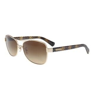 Coach HC7054 920913 Light Gold/ Brown Aviator Sunglasses - 56-16-135