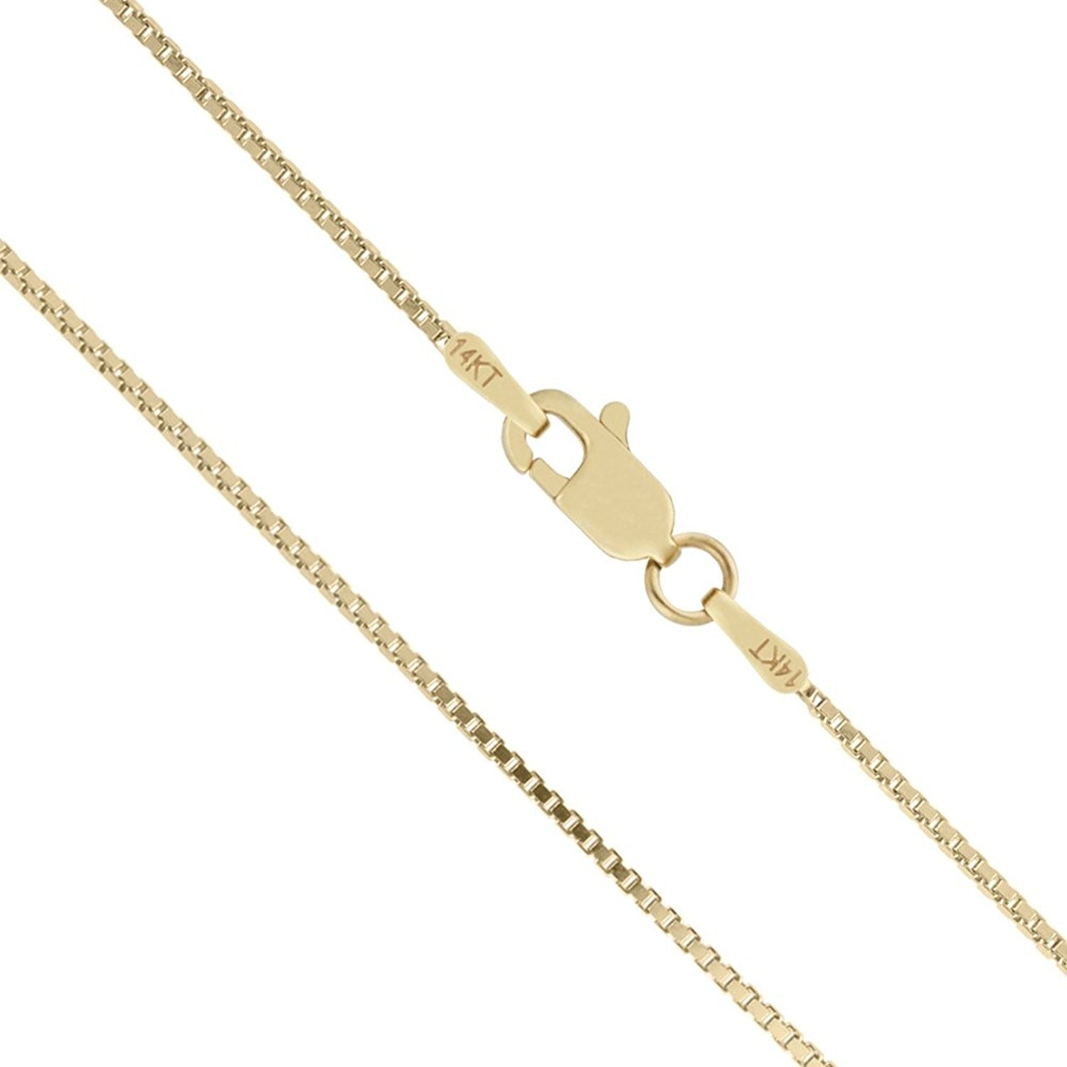"14K 20/"" Inches .6mm Solid Yellow Gold Classic Square Box Chain Pendant Necklace"