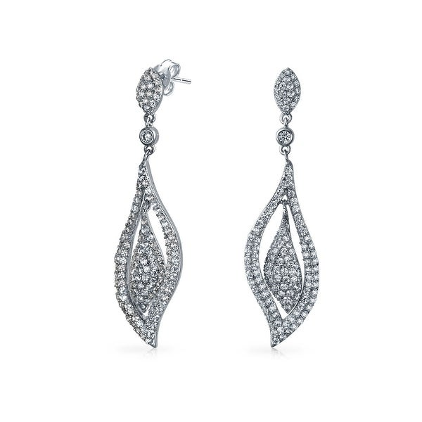 c5f54edff23a Shop Modern Bride Bridal Prom Evening CZ Chandelier Earrings Large Leaf  Silver Tone Cubic Zirconia Rhodium Plated Brass - On Sale - Free Shipping  On Orders ...