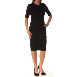 RALPH LAUREN $135 Womens New 1297 Black Short Sleeve Body Con Dress XS B+B