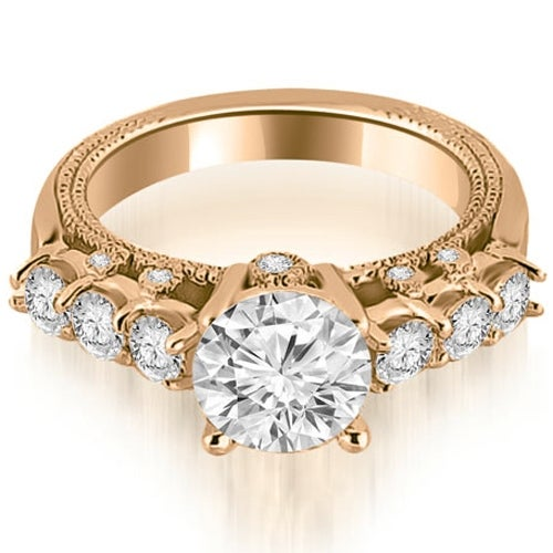 0.95 cttw. 14K Rose Gold Milgrain Round Cut Diamond Engagement Ring
