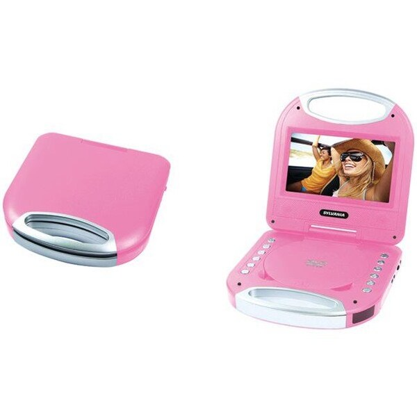 Portable DVD Player with Integrated Handle, Pink - 7 in.
