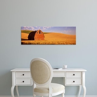 Easy Art Prints Panoramic Image 'Old barn in a wheat field, Palouse, Whitman County, Washington State' Canvas Art