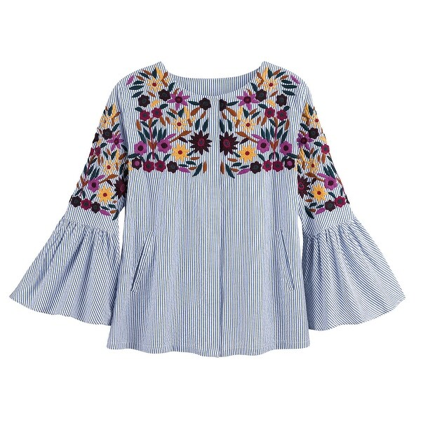 Women's Selena Embroidered Blouse - 3/4 Bell Sleeves and Seersucker Fabric