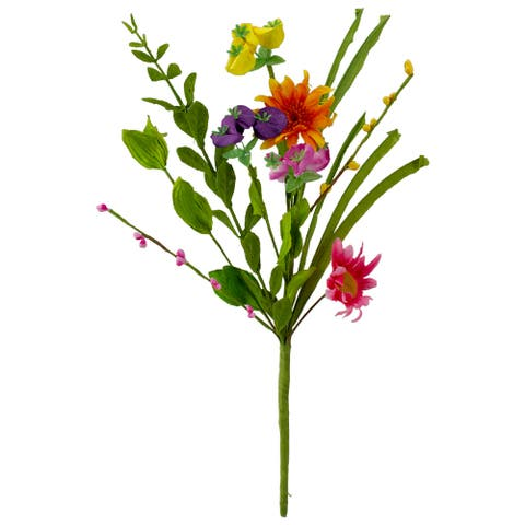 """14"""" Multi-Colored Mixed Daisies Spring Artificial Floral Spray"""