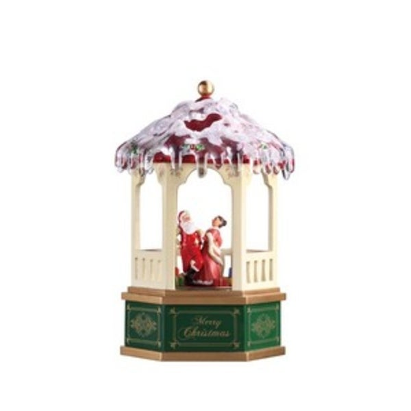 "Pack of 2 Icy Crystal Animated Musical Christmas Color Gazebo Figurines 8.5"" - RED"