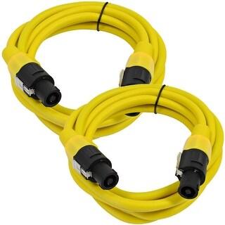 SEISMIC AUDIO Pair of 12 Gauge 5' Yellow Speakon to Speakon Speaker Cables