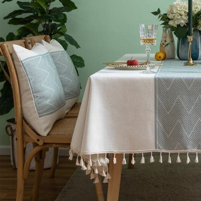 Enova Home High Quality Rectangle Cotton and Linen Tablecloth with Tassels (White)