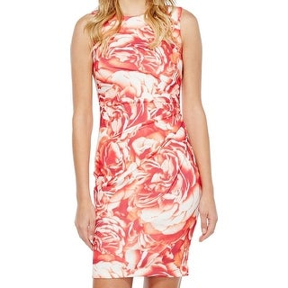 Calvin Klein NEW Orange Womens Size 8 Floral Printed Sheath Dress
