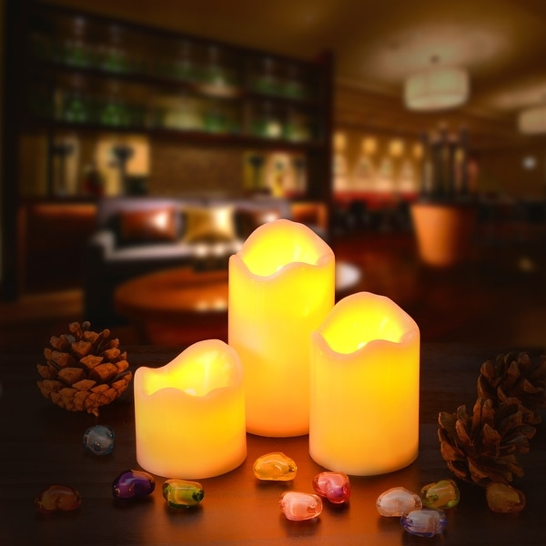 3PCS/set LED Flameless Flickering Candles Battery Operated Smokeless for Party Amber Yellow