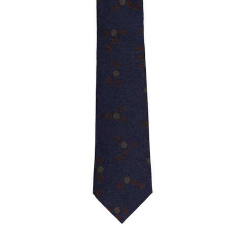 Isaia Napoli Men's Navy Brown 100% Wool Geometric Circle 7 Fold Tie RTL$245 NWT - One Size