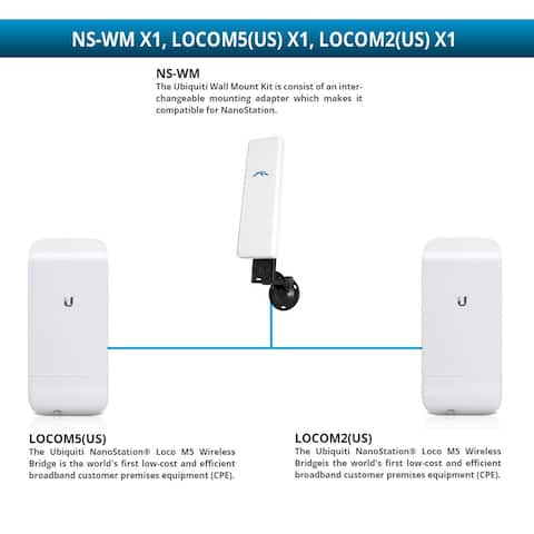 Ubiquiti NanoStation Loco M5 Wireless Bridge with NanoStation Loco M2 Wireless Bridge and Wall Mount Kit Loco M5 Wireless Bridge