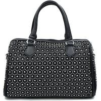 CA1600 Rhinestone Studded Bling Bling Boston Bag-Black