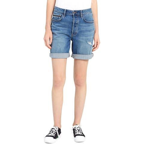 Calvin Klein Jeans Womens City Denim Shorts Distressed Mid-Rise