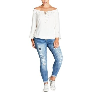City Chic Womens Blouse Cut Out Flare Sleeves