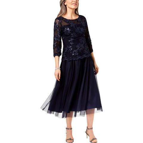 Alex Evenings Womens Midi Dress Evening Party