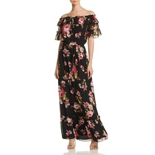 Link to WAYF Womens Jasper Maxi Dress Off-The-Shoulder Floral - Black Roses Similar Items in Suits & Suit Separates