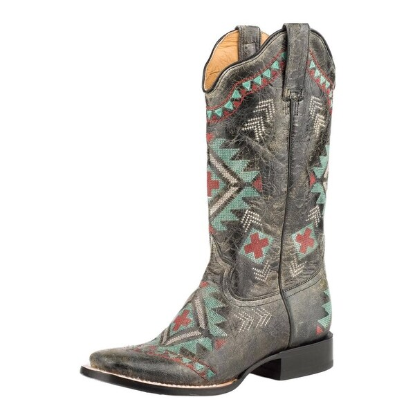 Roper Western Boots Womens Mai Southwest Emb Black