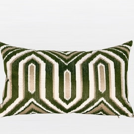 "G Home Collection Luxury Green Classical Geometry Pattern Embroidered Pillow 12""X20"""