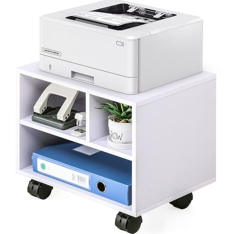 FITUEYES Printer Stand on Wheels Mobile Under Desk Work Cart